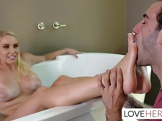 Vanessa Coop is giving a footjob to her lover and then getting up to the eyes his hard cock