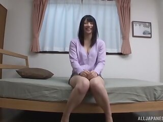 Passionate fucking at lodging upon small tits Japanese girlfriend