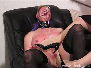 Bizarre lesbian humiliation and pussy spanking of amateur bdsm slave Bunny