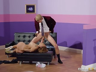 Curvy blonde takes his huge cock in her wet cunt