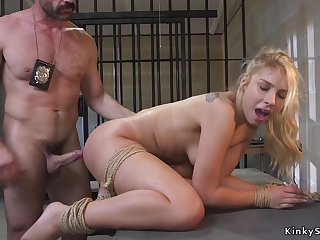 Raunchy rump blond hair babe made love by dirty cop