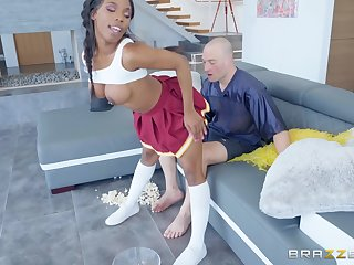 Ebony cheerleader Sarah Banks fucked and cum covered by a white dude