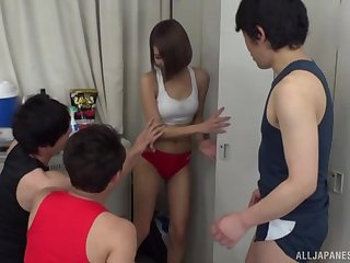 Cute sporty Japanese teen Harusaki Ryou gangbanged at a locker room