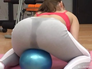 Sweaty sporty Japanese babe pounded after a workout