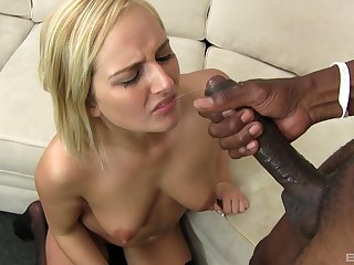 Cum guzzling whore Kate England fed a juicy load from a big black dick