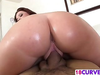 Teen redhead bounces her bubble butt on a hard cock