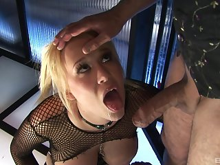 Busty pornstar in fishnets Carly Parker sprayed with cum at prison