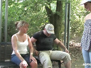 Amateur mature MILF gives a sloppy blowjob outdoors