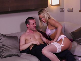 Blonde MILF bombshell Christen rides cock in stockings