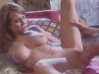 Blonde milf bimbo Holly West rides a hard cock doggy style