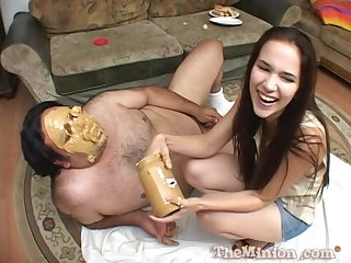 Food fetish sex session with Jennifer Loves Spluey eating cum