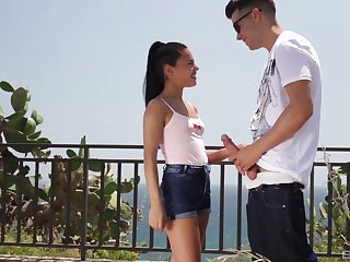 Latina brunette teen Apolonia Lapiedra swallows cum outdoors