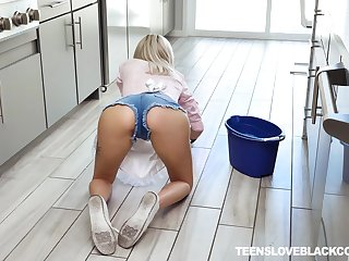 Slutty blonde teen maid Chloe Temple gets a big black cocks cum