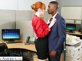 Eye catching milf Lauren Phillips seduces expansively endowed black co-worker