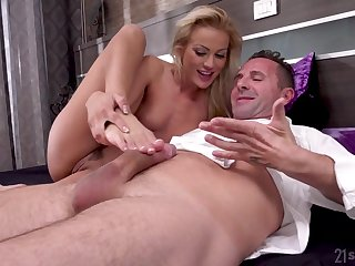 Cherry Kiss sucks his dick and takes a seat surpassing it