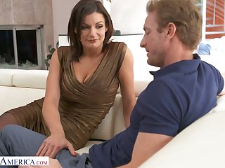 Order about tanned appetizing MILF Becky Bandini gives BJ and rides fat blarney