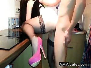 Fuck in a difficulty kitchen with stockings and heels