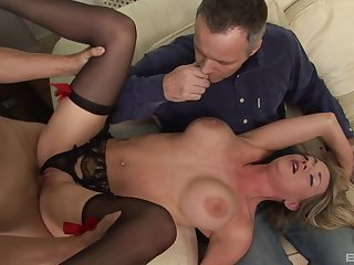 Milf treats both hubby and a difficulty step son at hand insane sex