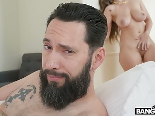 Bearded cadger gets his chance to fuck a beautiful curvy babe Lena Paul