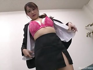 After dildo penetration horny Nanami Hirose is ready for friend's obstruction