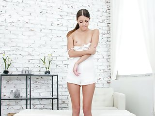 Ambit Cindy Shine exposes small tits with the addition of tenderly rubs her wet pussy