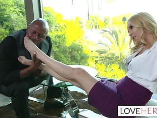 Aaliyah Love Interracial Footjob Embrocate With New Boss