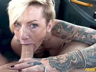 Short haired MILF with tattoos Angel Cruz car sex video