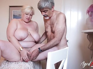 Horny friend is playing up soft mature pussy of gaffer fair-haired