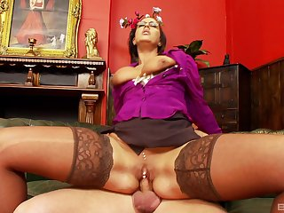 Milf gets on top of the learn of and rides it in meshuga modes