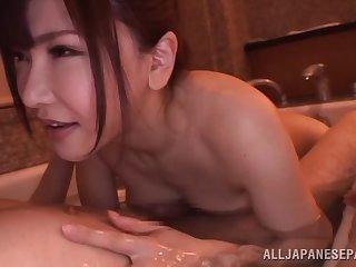 Cum hungry Asian sex bomb milks a throbbing Hawkshaw in put emphasize bath tub
