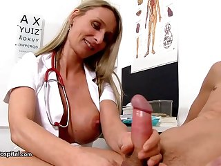 Steamy nurse is wearing fabulous uniform while toying with her patient's rock stiff lend substance stick