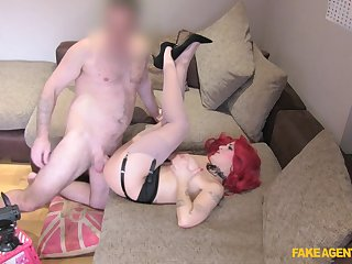 Redhead loads the brush fresh cunt with older man's pumped dong