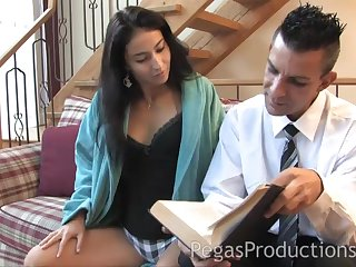 Lucky guy bangs hot brunette Malena and she eats circa be required of the cum