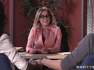 Lingerie wearing boss lady Payton West fucked on the office table