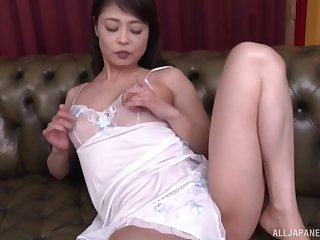 Only Japanese Ootomo Izumi drops her panties involving play with a dildo