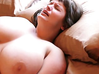 Hairy Aussie with big tits loves masturbating with their way thudding egg