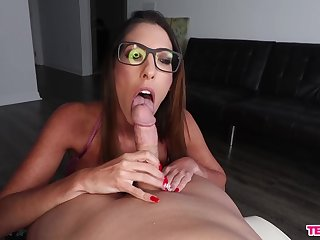 Stirred up babe sucks dick with the addition of waits for cum on her glasses