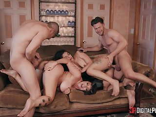 Foursome almost extreme modes to make laugh the slutty wives