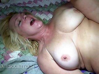 Chubby GILF brutal interracial sex