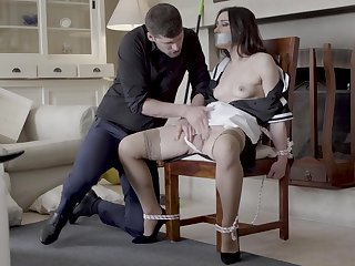 Hot maid Valentina Bianco tied to a chair with the addition of fucked good