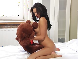 Inga plays with her dildo and teddy bear until she busts a acid-head