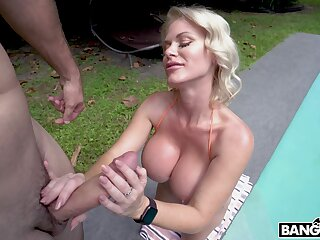 Amazing blowjob hard by busty Casca Akashova ends with cum on boobs
