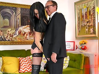 Provocative hew Monica in leather and high heels enjoys having sex