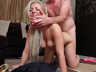 Hardcore fucking on the floor with cum loving wife Alana Luv