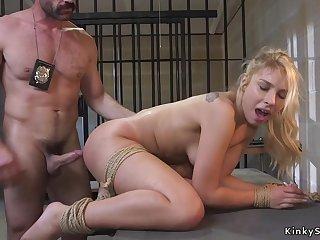 Raunchy rump blond hair babe made love by dirty cop