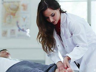 Slutty Latina nurse Amirah Adara drains her patient's cock dry