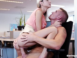 Blonde office slut Gina Gerson pounded bent over the desk