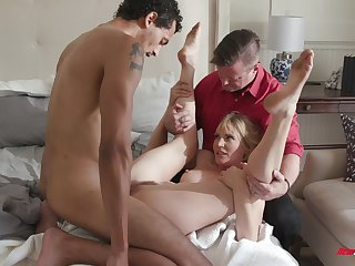 Cuckold husband holds Alex Jones's hands while another guy fucks her