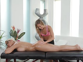 Lesbian oiled up pussy massage with Bridgette B and Christy Love