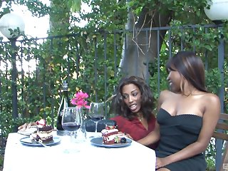 Gorgeous ebony teen lesbian couple Adriana Malao and Ashton Devine